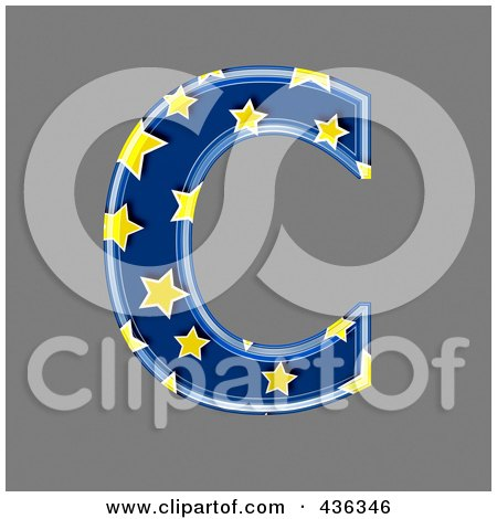 Royalty-Free (RF) Clipart Illustration of a 3d Blue Starry Symbol; Capital Letter C by chrisroll