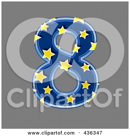 Royalty-Free (RF) Clipart Illustration of a 3d Blue Starry Symbol; Number 8 by chrisroll