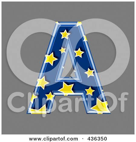 Royalty-Free (RF) Clipart Illustration of a 3d Blue Starry Symbol; Capital Letter A by chrisroll