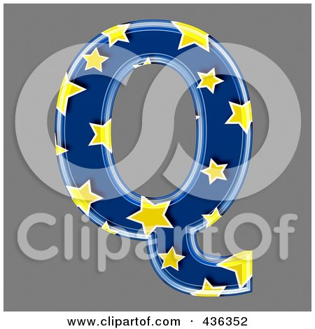 Royalty-Free (RF) Clipart Illustration of a 3d Blue Starry Symbol; Capital Letter Q by chrisroll
