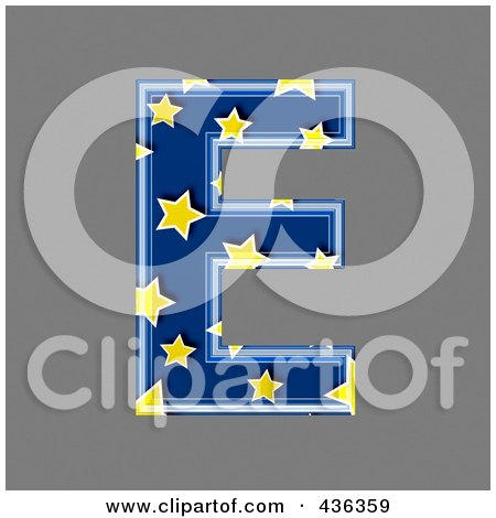 Royalty-Free (RF) Clipart Illustration of a 3d Blue Starry Symbol; Capital Letter E by chrisroll