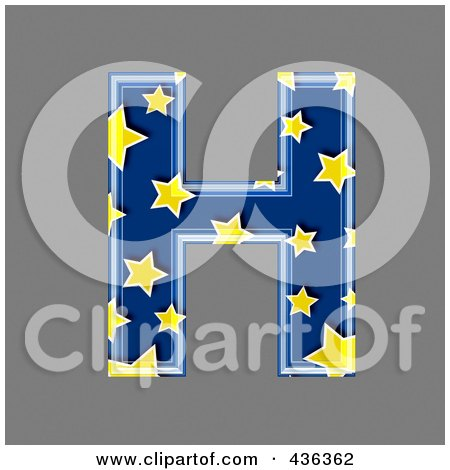 Royalty-Free (RF) Clipart Illustration of a 3d Blue Starry Symbol; Capital Letter H by chrisroll