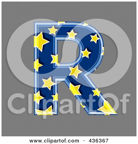 Royalty-Free (RF) Clipart Illustration of a 3d Blue Starry Symbol; Capital Letter R by chrisroll