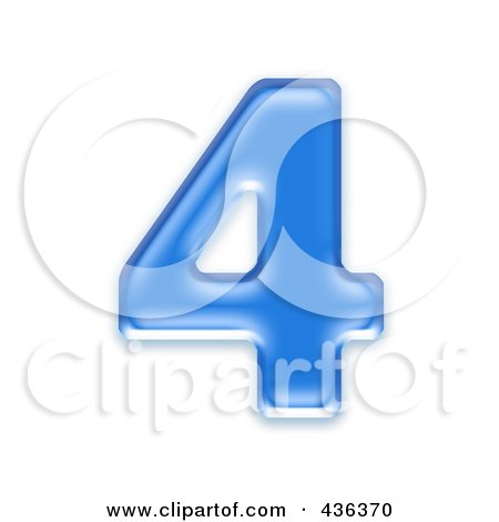 Royalty-Free (RF) Clipart Illustration of a 3d Blue Symbol; Number 4 by chrisroll