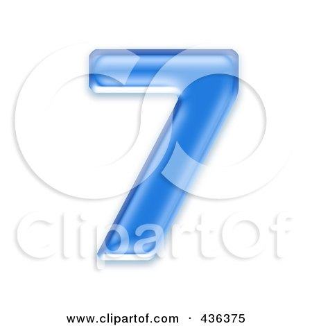 Royalty-Free (RF) Clipart Illustration of a 3d Blue Symbol; Number 7 by chrisroll