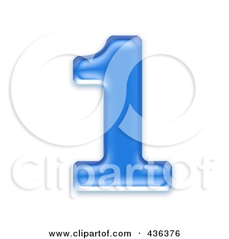 Royalty-Free (RF) Clipart Illustration of a 3d Blue Symbol; Number 1 by chrisroll