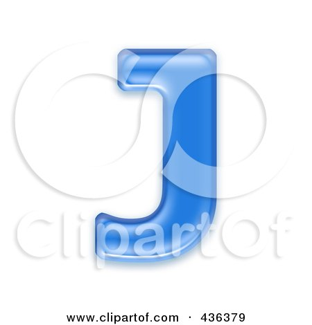 Royalty-Free (RF) Clipart Illustration of a 3d Blue Symbol; Capital Letter J by chrisroll