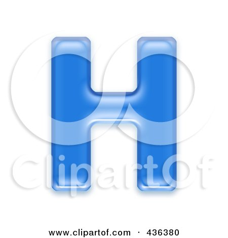 Royalty-Free (RF) Clipart Illustration of a 3d Blue Symbol; Capital Letter H by chrisroll