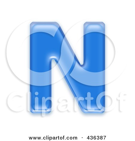 Royalty-Free (RF) Clipart Illustration of a 3d Blue Symbol; Capital Letter N by chrisroll
