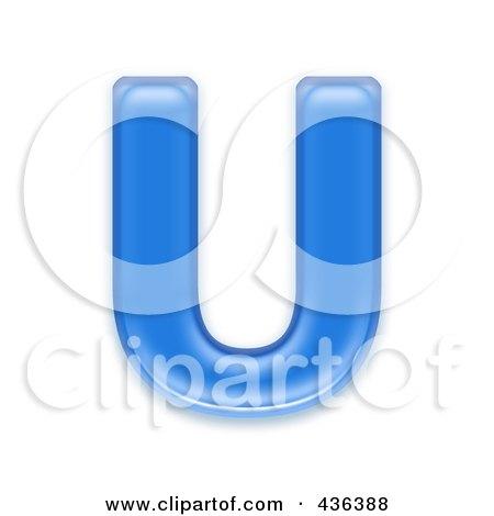 Royalty-Free (RF) Clipart Illustration of a 3d Blue Symbol; Capital Letter U by chrisroll