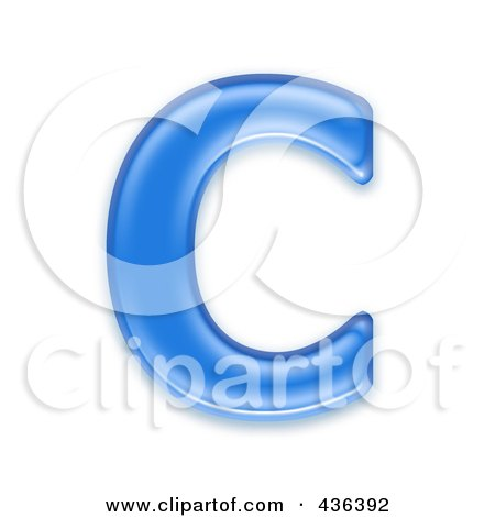 Royalty-Free (RF) Clipart Illustration of a 3d Blue Symbol; Capital Letter C by chrisroll