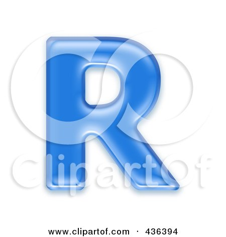 Royalty-Free (RF) Clipart Illustration of a 3d Blue Symbol; Capital Letter R by chrisroll