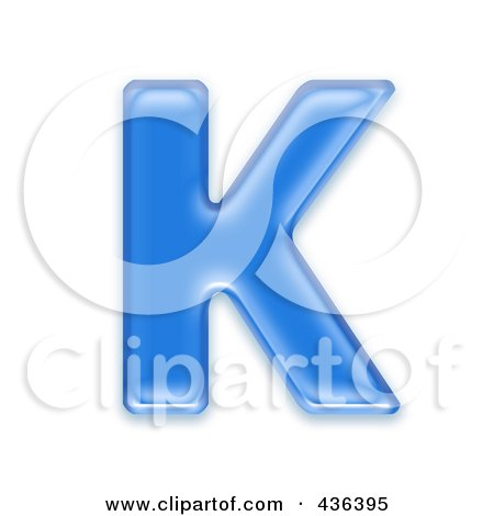 Royalty-Free (RF) Clipart Illustration of a 3d Blue Symbol; Capital Letter K by chrisroll