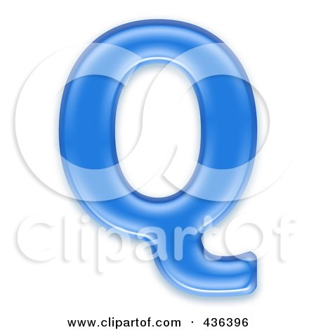 Royalty-Free (RF) Clipart Illustration of a 3d Blue Symbol; Capital Letter Q by chrisroll