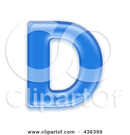 Royalty-Free (RF) Clipart Illustration of a 3d Blue Symbol; Capital Letter D by chrisroll