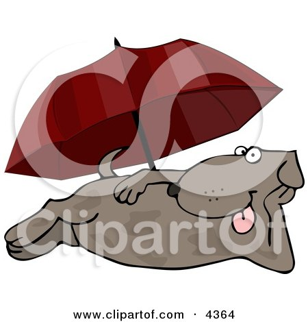 Happy Summertime Dog Laying at the Beach Under an Umbrella Clipart by djart