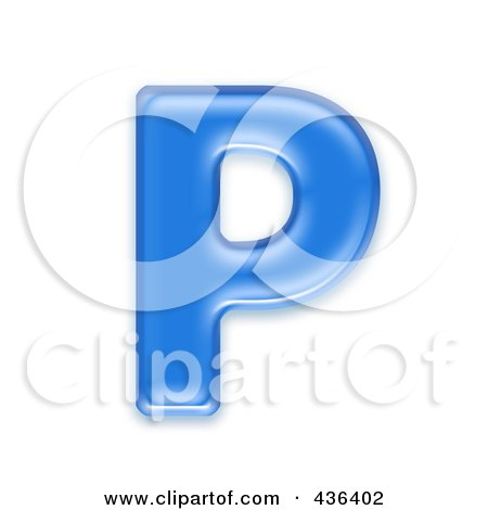 Royalty-Free (RF) Clipart Illustration of a 3d Blue Symbol; Capital Letter P by chrisroll