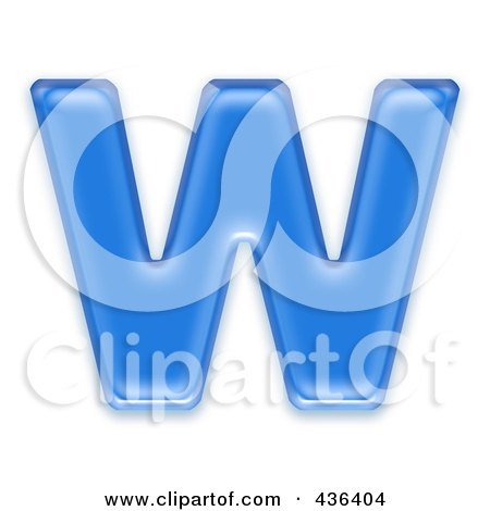 Royalty-Free (RF) Clipart Illustration of a 3d Blue Symbol; Capital Letter W by chrisroll