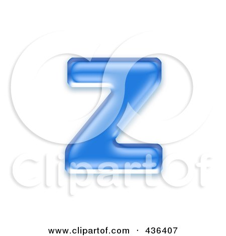 Royalty-Free (RF) Clipart Illustration of a 3d Blue Symbol; Lowercase Letter z by chrisroll