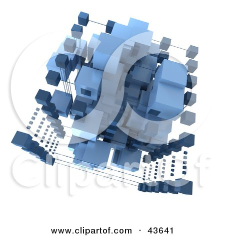 Clipart Illustration of a 3d Structure Composed Of Light And Dark Blue Cubes by Frank Boston