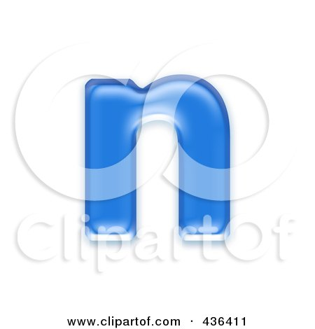 Royalty-Free (RF) Clipart Illustration of a 3d Blue Symbol; Lowercase Letter n by chrisroll