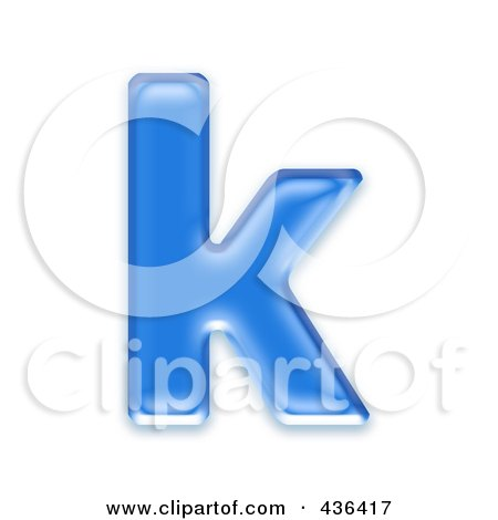 Royalty-Free (RF) Clipart Illustration of a 3d Blue Symbol; Lowercase Letter k by chrisroll