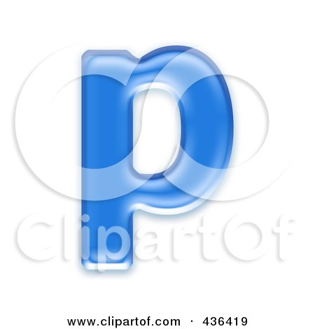 Royalty-Free (RF) Clipart Illustration of a 3d Blue Symbol; Lowercase Letter p by chrisroll