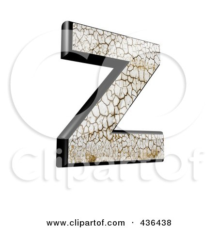 Royalty-Free (RF) Clipart Illustration of a 3d Cracked Earth Symbol; Capital Letter Z by chrisroll