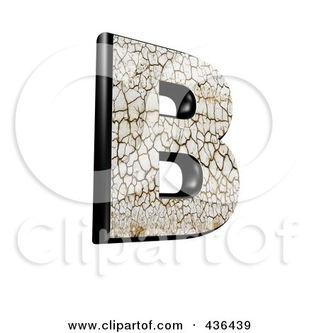 Royalty-Free (RF) Clipart Illustration of a 3d Cracked Earth Symbol; Capital Letter B by chrisroll