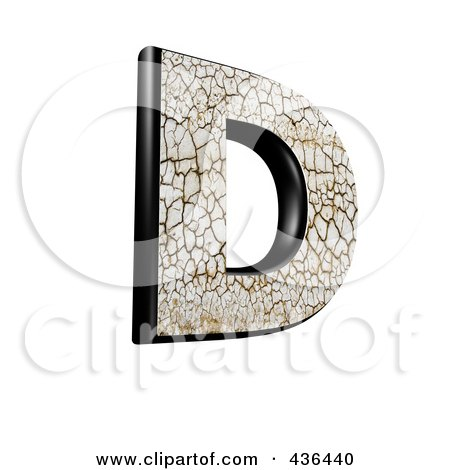 Royalty-Free (RF) Clipart Illustration of a 3d Cracked Earth Symbol; Capital Letter D by chrisroll