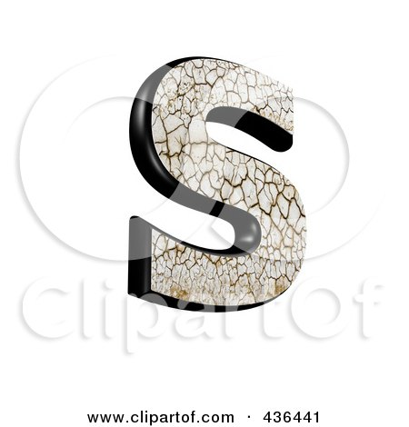 Royalty-Free (RF) Clipart Illustration of a 3d Cracked Earth Symbol; Capital Letter S by chrisroll