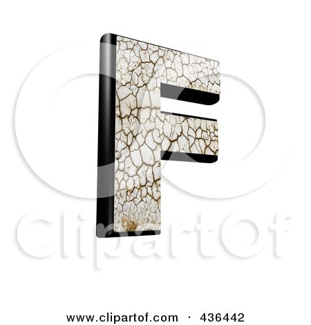 Royalty-Free (RF) Clipart Illustration of a 3d Cracked Earth Symbol; Capital Letter F by chrisroll