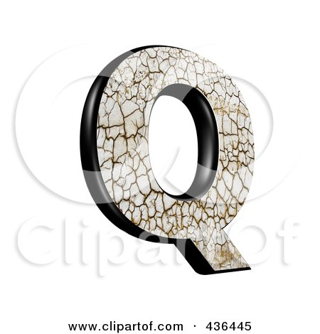 Royalty-Free (RF) Clipart Illustration of a 3d Cracked Earth Symbol; Capital Letter Q by chrisroll