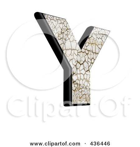 Royalty-Free (RF) Clipart Illustration of a 3d Cracked Earth Symbol; Capital Letter Y by chrisroll