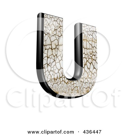 Royalty-Free (RF) Clipart Illustration of a 3d Cracked Earth Symbol; Capital Letter U by chrisroll