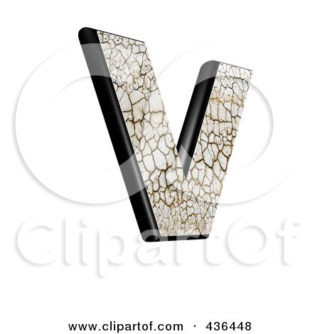 Royalty-Free (RF) Clipart Illustration of a 3d Cracked Earth Symbol; Capital Letter V by chrisroll