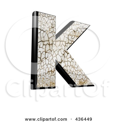 Royalty-Free (RF) Clipart Illustration of a 3d Cracked Earth Symbol; Capital Letter K by chrisroll