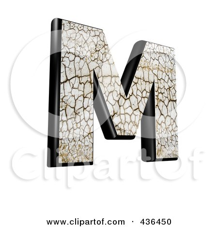 Royalty-Free (RF) Clipart Illustration of a 3d Cracked Earth Symbol; Capital Letter M by chrisroll