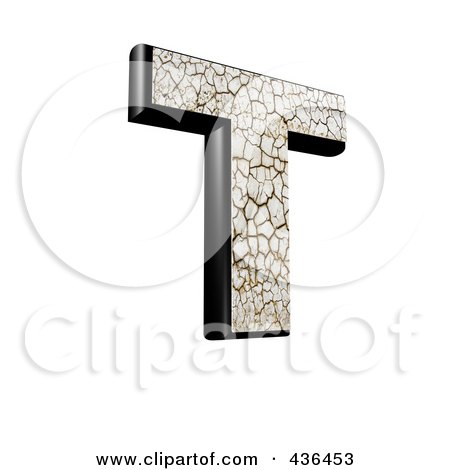 Royalty-Free (RF) Clipart Illustration of a 3d Cracked Earth Symbol; Capital Letter T by chrisroll