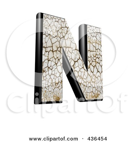 Royalty-Free (RF) Clipart Illustration of a 3d Cracked Earth Symbol; Capital Letter N by chrisroll