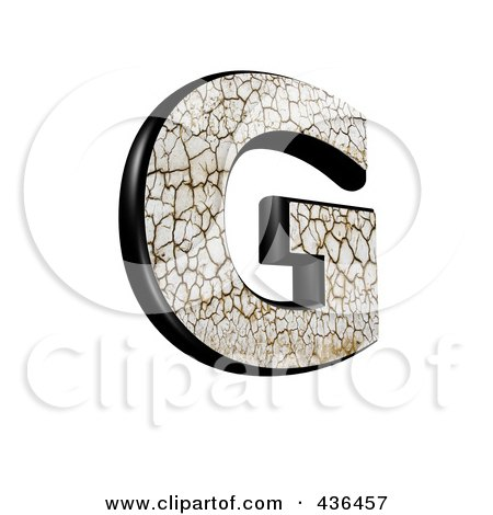Royalty-Free (RF) Clipart Illustration of a 3d Cracked Earth Symbol; Capital Letter G by chrisroll