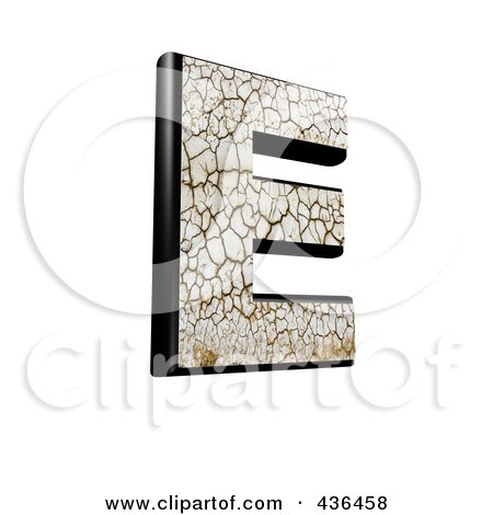 Royalty-Free (RF) Clipart Illustration of a 3d Cracked Earth Symbol; Capital Letter E by chrisroll