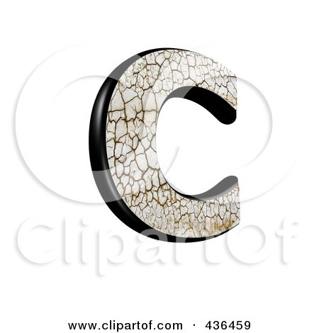 Royalty-Free (RF) Clipart Illustration of a 3d Cracked Earth Symbol; Capital Letter C by chrisroll