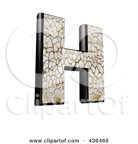 Royalty-Free (RF) Clipart Illustration of a 3d Cracked Earth Symbol; Capital Letter H by chrisroll