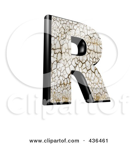 Royalty-Free (RF) Clipart Illustration of a 3d Cracked Earth Symbol; Capital Letter R by chrisroll