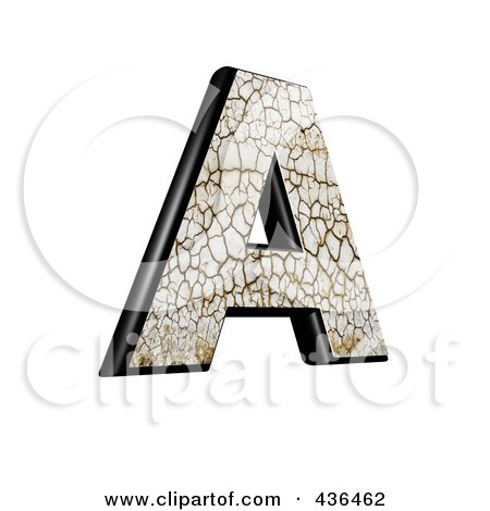 Royalty-Free (RF) Clipart Illustration of a 3d Cracked Earth Symbol; Capital Letter A by chrisroll