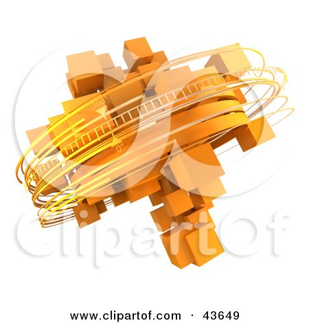 Clipart Illustration of Rotating 3d Rings Around Orange Cubes by Frank Boston