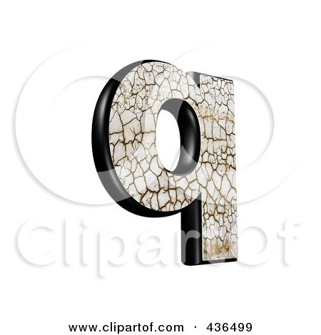 Royalty-Free (RF) Clipart Illustration of a 3d Cracked Earth Symbol; Lowercase Letter q by chrisroll