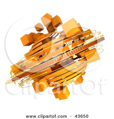 Clipart Illustration of 3d Rings Around A Spinning Orange Mass Of Cubes by Frank Boston
