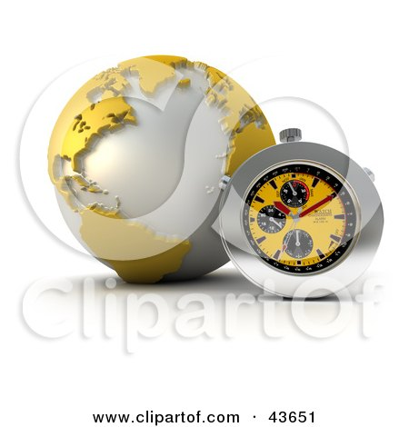 Clipart Illustration of a 3d Stop Watch Resting Against A Yellow Globe by Frank Boston